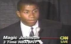 """Magic nel giorno dell'annuncio della sua sieropositività. Consiglio il documentario ESPN """"The Announcement"""""""
